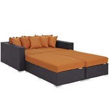 Convene 4 Piece Outdoor Patio Daybed Espresso Orange EEI-2160-EXP-ORA-SET - $2,059.00