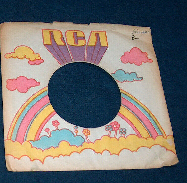 Primary image for (1) 1971 RCA 45 RPM Rainbow Flowers & Clouds Vinyl Record Protector Sleeve GD