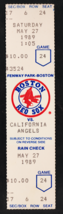 1989 California Angels Boston Red Sox Full Ticket Dwight Evans HR Wade B... - $2.50