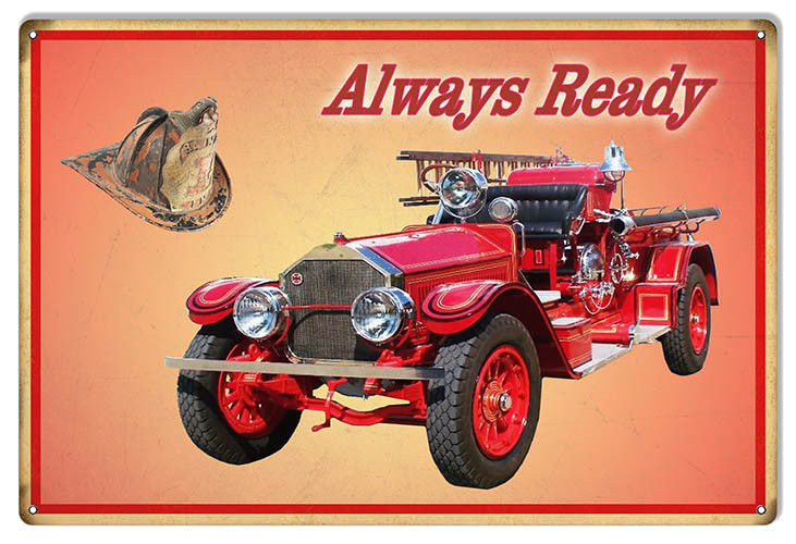 Primary image for Always Ready Red Fire Engine Reproduction Sign 12x 18