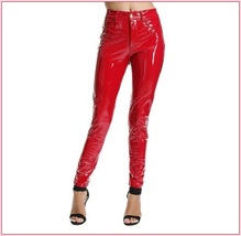 Bright Red Tight Fit Faux Leather High Waist Front Zip Up Legging Pencil Pants image 2
