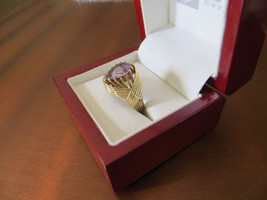 Antique Victorian 14K Yellow Gold Teardrop Amethyst Wrap Ring s.8.25 GOR... - $384.99
