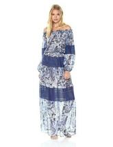 NWT BCBGMAXAZRIA Ellie Paisley Print Gown Maxi Dress BLUE Large $468  - $108.90