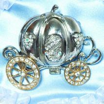 Pumpkin Carriage Brooch Pin Rhinestones Cinderella Princess Costume 4466 - $14.84