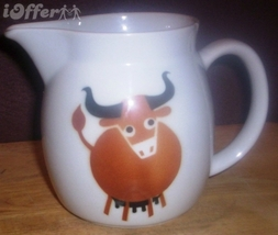 SCANDINAVIAN(FINNISH) MODERN-ARABIA BROWN BULL / COW (HELUNA) PITCHER - $17.45