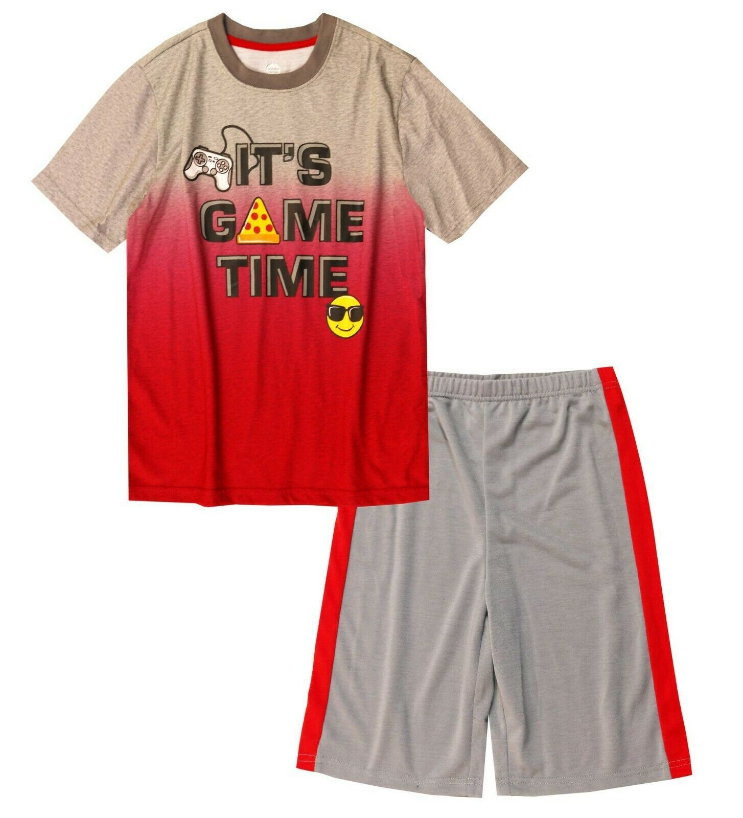 Primary image for Wonder Nation Boys Sleepwear Shirt & Shorts Small (6-7) It's Game Time Gray