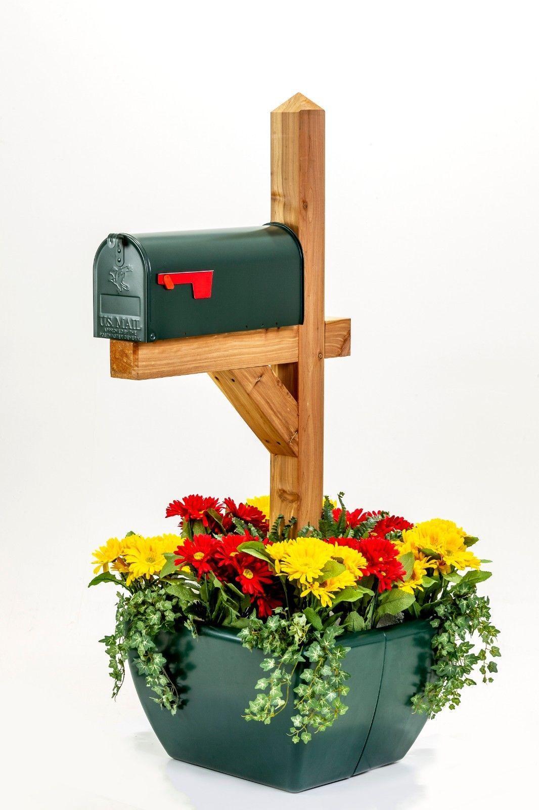SnapPot Mailbox Post Planter-Forest Green Sign Tent Deck