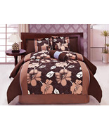 7-Pc Microfiber Lilium Lily Flower Floral Comforter Set Brown Coffee Blu... - $81.79
