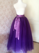 Women High Waist Maxi Tulle Skirt A Line Holiday Formal Bridal Tutu Skirt Purple