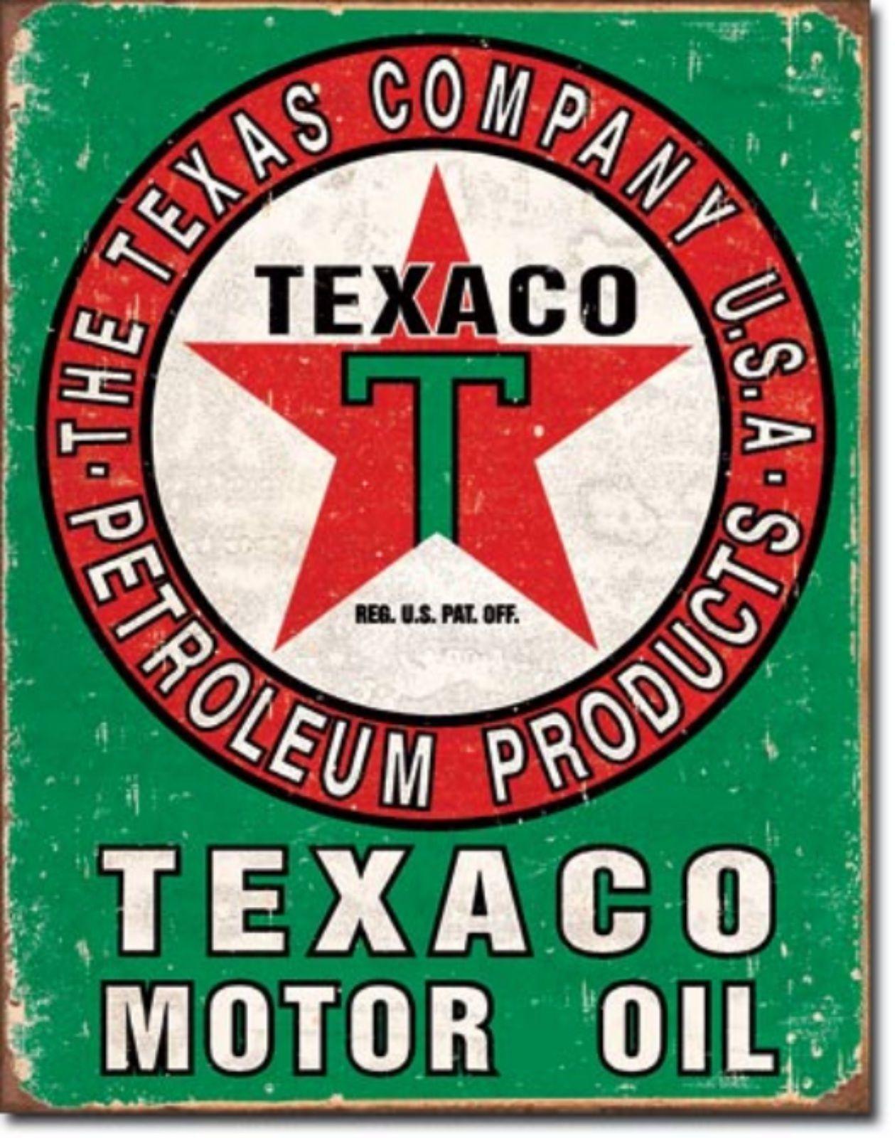 Texaco Motor Oil Texas Company Metal Sign Tin New Vintage Style #1927