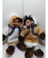 Plush Alaskan Eskimo Girl Stuffed Alaska Doll Arctic Kids Plush lot of 2 - $28.69