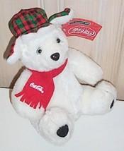 "Coca Cola 9"" Plush Polar Bear Wears Scarf & Holiday Plaid Ear Flaps Hunt... - $5.39"