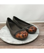Crocs 15507 Womens Size 6 Brown Rubber Tortoise Cap Toe Ballet Flats - $24.95