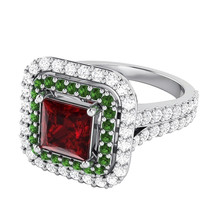 4.50 Ct Princess Cut Ruby & Cubic Zirconia Sterling Silver Halo Engageme... - $144.53