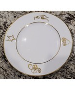 "JC Penny Home Collection Holiday Wishes 10.5"" White Dinner Plate w Gold Rim - $7.13"