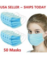50 Face Mask Mouth Cover Surgical Medical Dental Disposable 3-PLY Earloop - $29.98