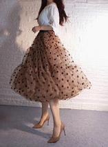 Emerald Green Polka Dot Tulle Skirt A-line Emerald Green Tulle Midi Skirt Outfit image 11