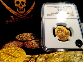 "Spain 2 Escudos ""Rarely Dated 1595!"" Ngc 50 Gold Doubloon Cob Coin - $2,350.00"