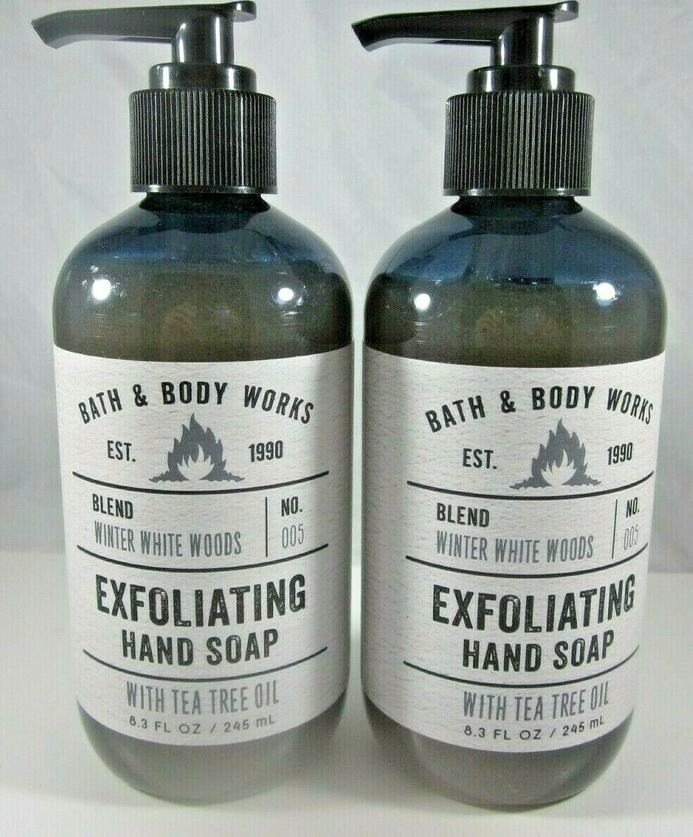 2 Bath & Body Works Exfoliating Hand Soap tea tree oil  Winter White Woods