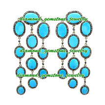 52.25c-ROSE-CUT-DIAMOND-TURQUOISE-ANTIQUE-LOOK-WEDDING-SILVER-EARRING-CH... - $623.04