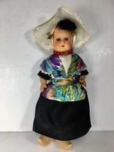 "Vintage 12"" Dutch Holland Girl Doll w/ Wooden Shoes & Legs SLEEPY EYES J... - $14.10"