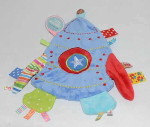 Baby Snoozies BTCRK04 Cozy Crinkle Cloth Blue Rocket Auditory Tactile Feedback