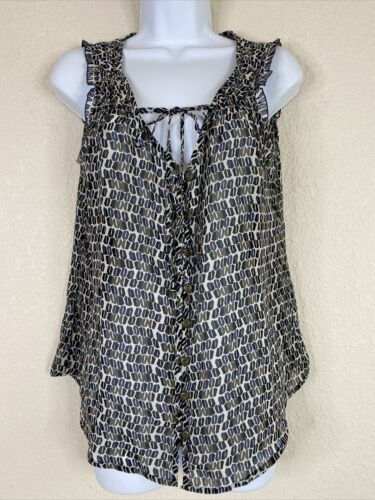 Primary image for Gap Womens Size M Geometric Pattern Button Up Blouse Sleeveless