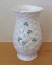 """Belleek Pottery Shamrock Kylemore 6 ¼"""" Vase Embossed Basketweave Ireland - $37.39"""