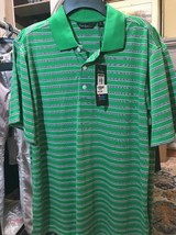 Walter Hagen Essentials Mens S GOLF Polo Three Stripe Green Fern New - $18.55
