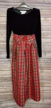 Chantilly Place girls Dress sz 8 Red Taffeta Plaid Velvet Black Holiday - $27.98