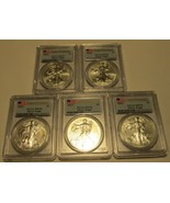 2014 Silver Eagle PCGS MS 69 First Strike 5 Coins B.U. Silver $1 Almost Perfect - $214.90