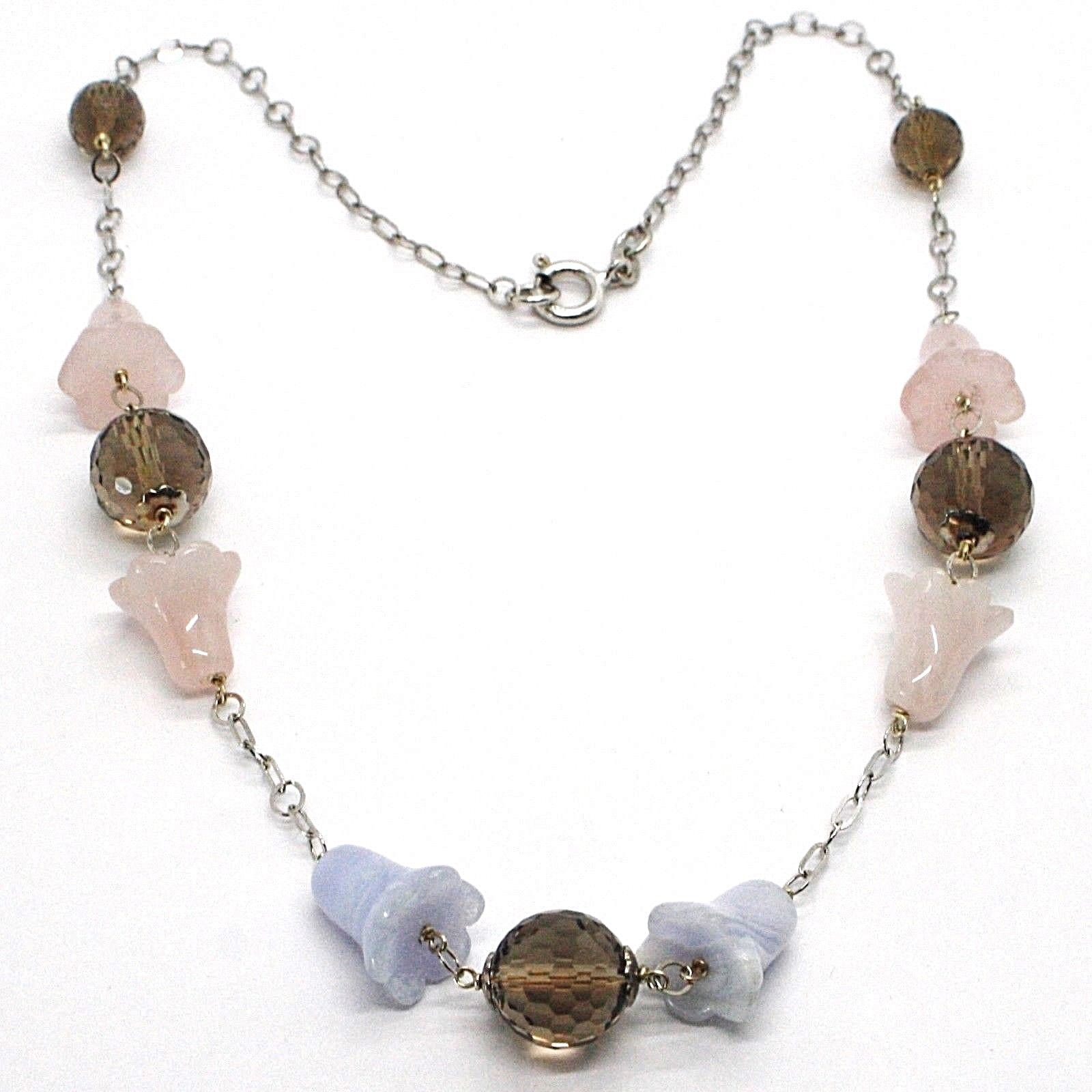 SILVER 925 NECKLACE, BLUEBELLS, FLOWERS, BELLS, PINK QUARTZ, CHALCEDONY