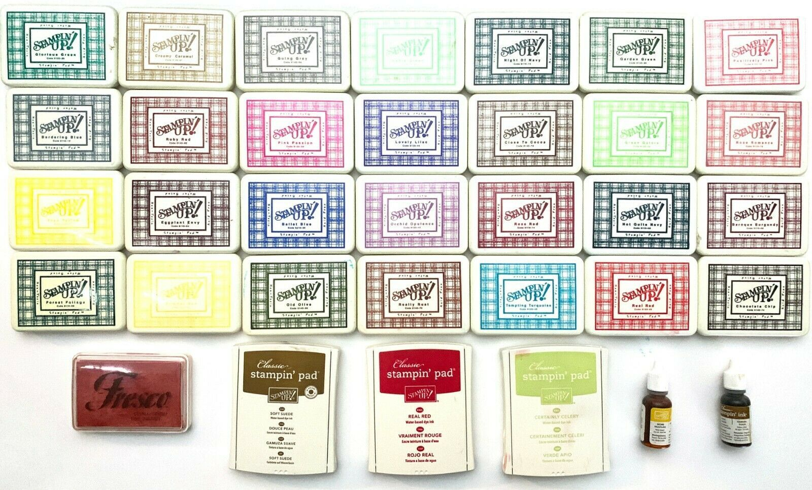 Lot of 31 Stampin' Up Ink Pads, One Fresco Ink Pad, Two Stampin' Up Ink Refills - $99.88