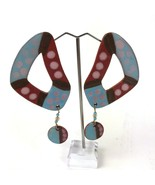 Artisan handmade Statement earrings boho tribal hippy vintage clay danglers - $16.82