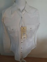 Vintage Wrangler Pearl Snap Shirt Length Tails Ultimate Riding White Size Medium - $34.60