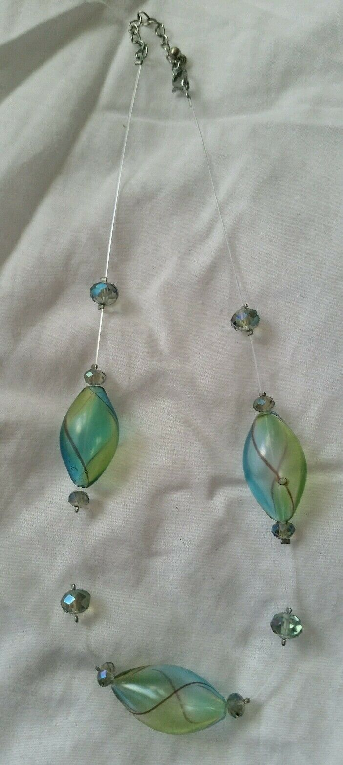 Primary image for NWOT Douglas Paquette Blue and Green Handblown Glass Necklace
