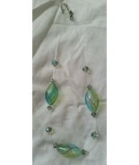 NWOT Douglas Paquette Blue and Green Handblown Glass Necklace - £3.65 GBP