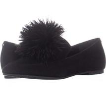 Michael Kors Fara Loafer Slip On Pom Pom Loafer Flats 318, Black Suede, ... - $32.63