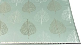Slub Effect Duck Egg Silver Embroidered Leaf Leaves Fabric Material *2 S... - $5.00+