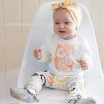 Bump baby long sleeve novelties t-shirt + owl pants clothes - $14.22