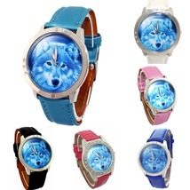 Chaoyada 38mm Blue WOLF Faux leather band Steel case Analog quartz Wrist watch - $9.99