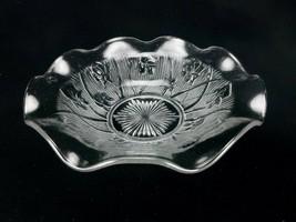 Vintage Glass Serving Bowl, Jeanette Glass, Iris & Herringbone, Starburs... - $24.45