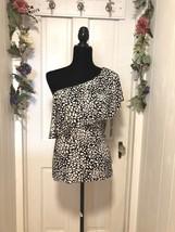 New Chaps Women's One Shoulder Knit Top Black & White Wide Ruffle Trim Sz L - $22.13