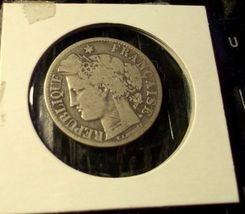 1871 France 2 Francs Silver Coin Very Nice! - $13.85
