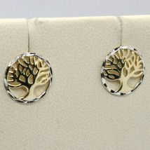 Earrings Yellow and White Gold 18k Round with Tree of Life Made in Italy image 1