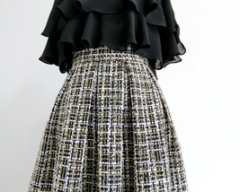 Black Winter Tweed Skirt Outfit A-line High Waisted Pleated Tweed Skirt image 4