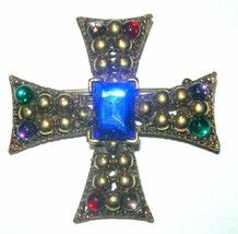 VINTAGE LARGE MALTESE RHINESTONE BLUE GLASS BROOCH PIN - $80.00