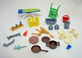 25 Piece Playmobil Geobra Part Pieces Kitchen Tools Ironboard Hand Cart ... - $18.32