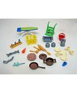 25 Piece Playmobil Geobra Part Pieces Kitchen Tools Ironboard Hand Cart ... - $18.32