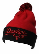 Deadline Black Red Acrylic Sports Logo Pom Beanie Winter ski Hat